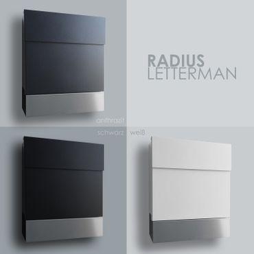 letterman 5 radius design briefkasten mit zeitungsfach anthrazit grau ral 7016 moderner wand. Black Bedroom Furniture Sets. Home Design Ideas