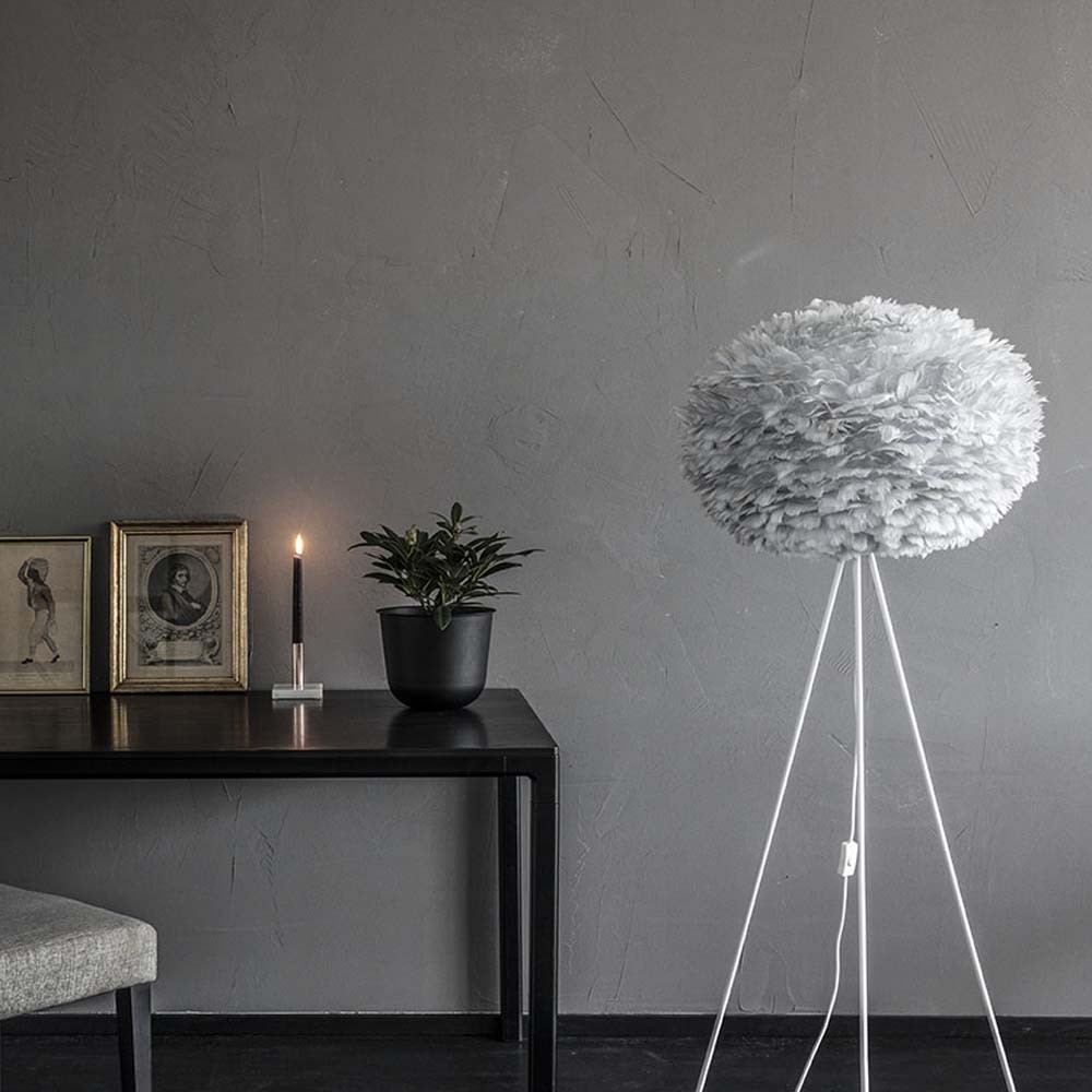 vita eos large lampenschirm grau aus g nsefedern 65 x 40 cm lampe light grey ebay. Black Bedroom Furniture Sets. Home Design Ideas