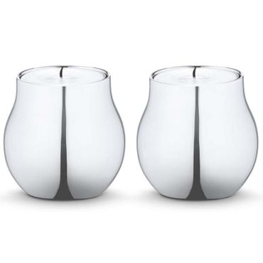 Georg Jensen Cafu 2 Stück Teelichthalter Edelstahl glänzend H 5,8 cm