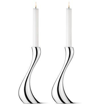 Georg Jensen 2 Stück Cobra Kerzenhalter groß aus glänzendem Edelstahl