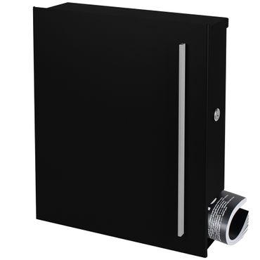 Design-Briefkasten mit Zeitungsfach schwarz (RAL 9005) MOCAVI Box 110 Wandbriefkasten 12 Liter – Bild 2