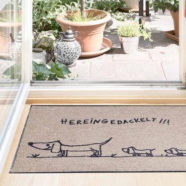 Salonloewe Fußmatte waschbar Hereingedackelt family 50 x 75 cm beige-anthrazit Türvorleger, Schmutzfangmatte – Bild 4