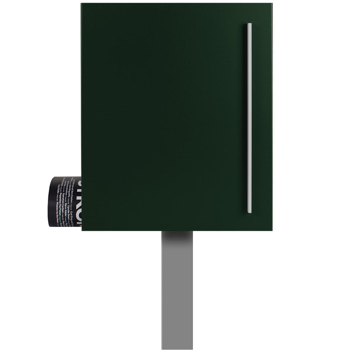 standbriefkasten mit zeitungsfach tannen gr n ral 6009. Black Bedroom Furniture Sets. Home Design Ideas