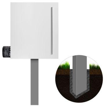 MOCAVI SBox 110b Standbriefkasten mit Zeitungsfach weiß (RAL 9003) Design-Briefkasten mit Fuß (einbetonieren) freistehend – Bild 2