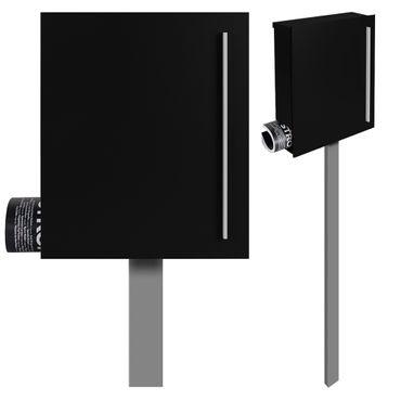Standbriefkasten mit Zeitungsfach schwarz (RAL 9005) MOCAVI SBox 110b Briefkasten mit Pfosten (einbetonieren)