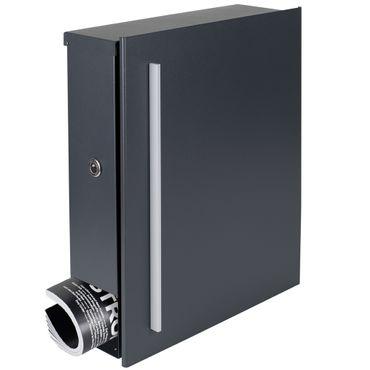 Standbriefkasten mit Zeitungsfach anthrazit-grau (RAL 7016) MOCAVI SBox 110R-b Briefkasten mit Pfosten (einbetonieren) Rechtsanschlag – Bild 3