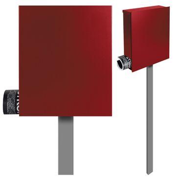 Standbriefkasten mit Zeitungsfach rubin-rot (RAL 3003) MOCAVI SBox 111b Briefkasten mit Pfosten (einbetonieren) – Bild 1