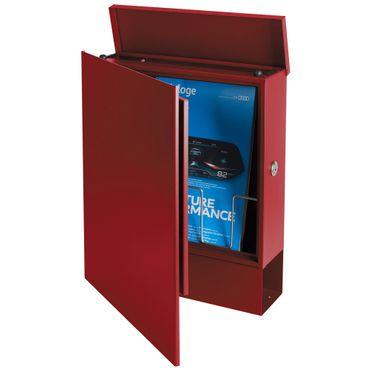 Standbriefkasten mit Zeitungsfach rubin-rot (RAL 3003) MOCAVI SBox 111b Briefkasten mit Pfosten (einbetonieren) – Bild 7