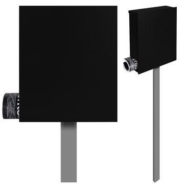 Standbriefkasten mit Zeitungsfach schwarz (RAL 9005) MOCAVI SBox 111b Briefkasten mit Pfosten (einbetonieren)