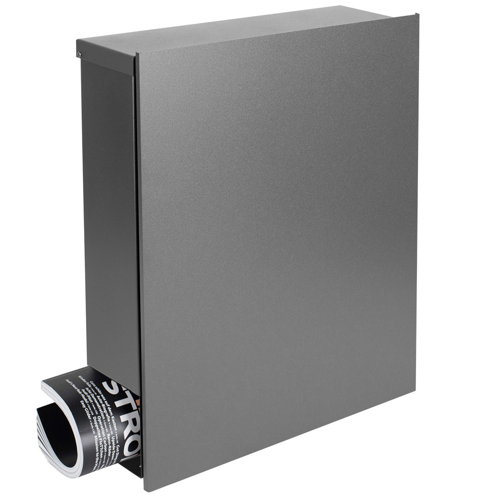 standbriefkasten mit zeitungsfach grau aluminium ral 9007. Black Bedroom Furniture Sets. Home Design Ideas