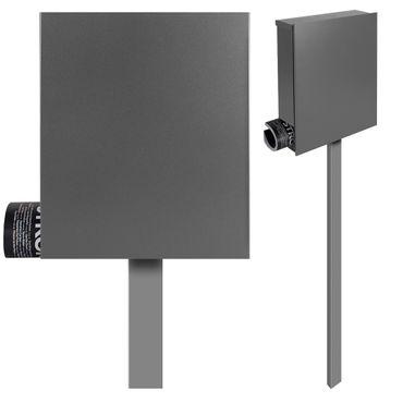 Standbriefkasten mit Zeitungsfach grau-aluminium (RAL 9007) MOCAVI SBox 111b Briefkasten mit Pfosten (einbetonieren)