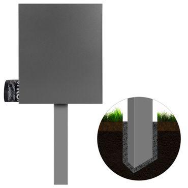Standbriefkasten mit Zeitungsfach grau-aluminium (RAL 9007) MOCAVI SBox 111b Briefkasten mit Pfosten (einbetonieren) – Bild 2