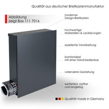 Standbriefkasten mit Zeitungsfach grau-aluminium (RAL 9007) MOCAVI SBox 111b Briefkasten mit Pfosten (einbetonieren) – Bild 3