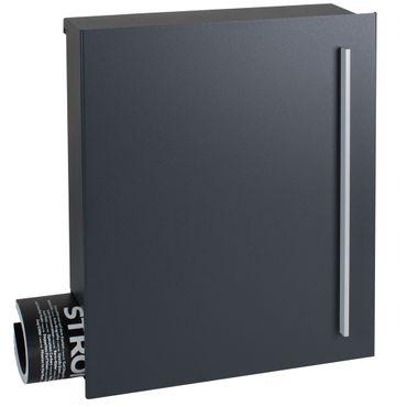 Design-Briefkasten mit Zeitungsfach anthrazit seidenglanz (RAL 7016) MOCAVI Box 115 Wandbriefkasten 12 Liter