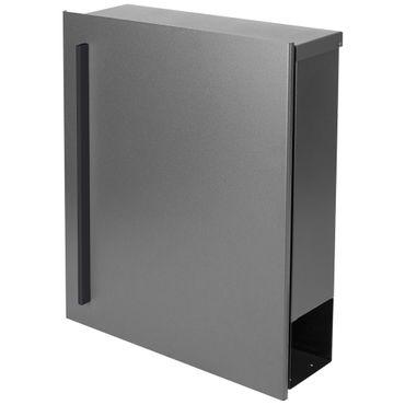 MOCAVI Box 110R Design-Briefkasten mit Zeitungsfach grau-aluminium (RAL 9007) Wandbriefkasten, Schloss links, groß 12 Liter – Bild 4