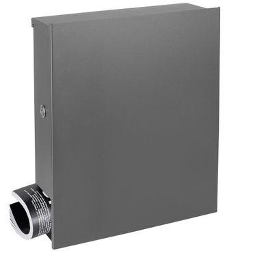 MOCAVI Box 111R Design-Briefkasten mit Zeitungsfach grau-aluminium (RAL 9007) Wandbriefkasten, Schloss links, groß, puristisch ohne Griff