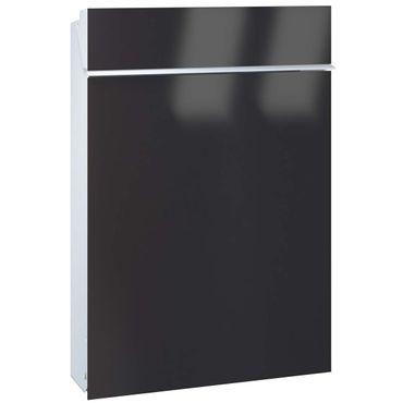Serafini Briefkasten Flat Stahl weiß/Front tiefschwarz 45,8 x 30,7 x 9,2 cm