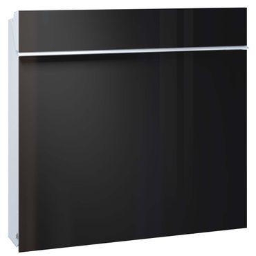 Serafini Briefkasten Flat Wide Stahl weiß/Front Glas tiefschwarz 42,1 x 42,2 x 9,4 cm