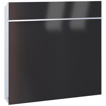 Serafini Briefkasten Flat Wide Stahl weiß/Front tiefschwarz 42,1 x 42,2 x 9,2 cm