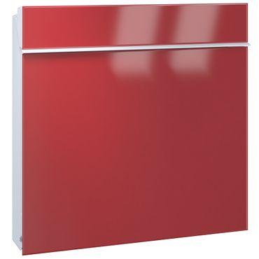 Serafini Briefkasten Flat Wide Stahl weiß/Front orientrot 42,1 x 42,2 x 9,2 cm