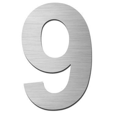Serafini Hausnummer 9 Edelstahl V4A zum Einschlagen Höhe 15 cm
