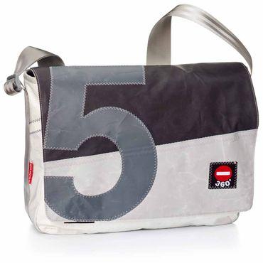 360 Grad Tasche Barkasse Klappe schwarz Zahl grau Umhängetasche