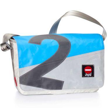 360 Grad Tasche Barkasse Mini cyanblau mit Balken hellgrau Zahl dunkelgrau