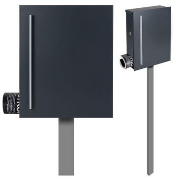 Standbriefkasten mit Zeitungsfach anthrazit-grau (RAL 7016) MOCAVI SBox 110R-b Briefkasten mit Pfosten (einbetonieren) Rechtsanschlag