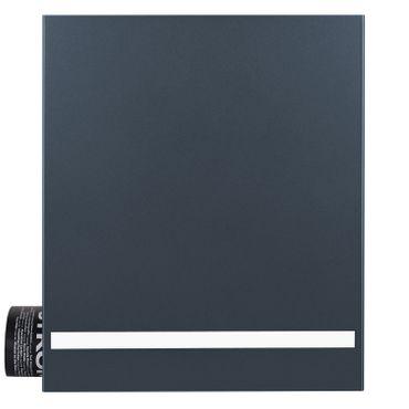 MOCAVI Box 131 Design-Briefkasten anthrazit-grau, Gravurband aus Edelstahl, Deutsche Produktion, Zeitungsfach (RAL 7016) ungraviert