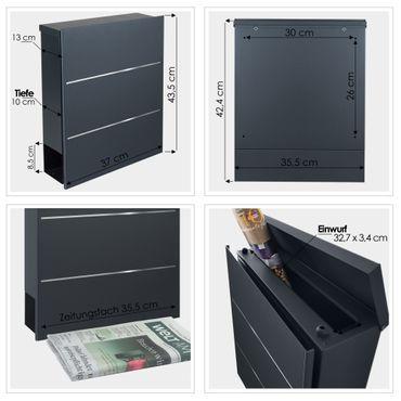 MOCAVI Box 141 Design-Briefkasten mit Zeitungsfach anthrazit-grau (RAL 7016), Edelstahl-Detail, Wandbriefkasten groß – Bild 4