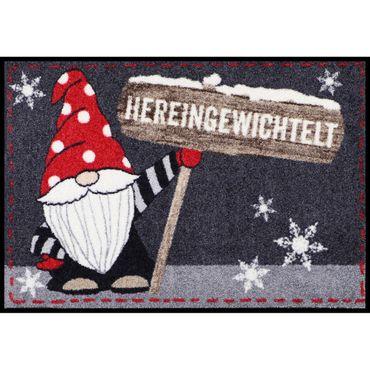 Design-Fußmatte Wichtel Knud waschbar 50x75 cm Schmutzfangmatte innen + außen lustiger Motiv-Fußabtreter und Sauberlaufmatte