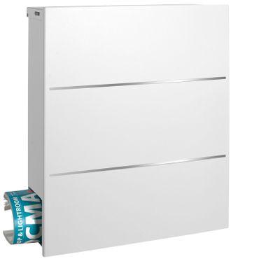 MOCAVI Box 141 Design-Briefkasten mit Zeitungsfach signal-weiss (RAL 9003) mit Edelstahl, Wandbriefkasten groß – Bild 6