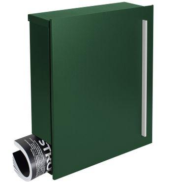 MOCAVI Box 110 Qualitäts-Briefkasten mit Zeitungsfach moos-grün (RAL 6005) Wandbriefkasten 12 Liter Design-Briefkasten