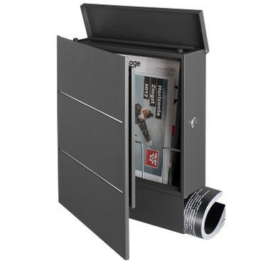 MOCAVI Box 141 Design-Briefkasten mit Zeitungsfach grau-eisenglimmer (DB 703) mit Edelstahl, Wandbriefkasten groß – Bild 8