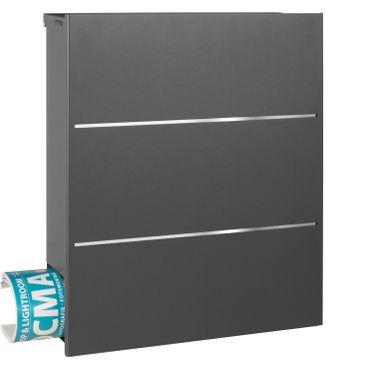 MOCAVI Box 141 Design-Briefkasten mit Zeitungsfach grau-eisenglimmer (DB 703) mit Edelstahl, Wandbriefkasten groß – Bild 7