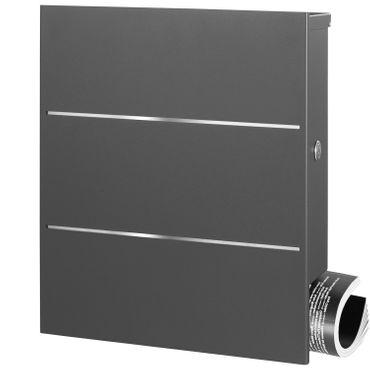 MOCAVI Box 141 Design-Briefkasten mit Zeitungsfach grau-eisenglimmer (DB 703) mit Edelstahl, Wandbriefkasten groß – Bild 6