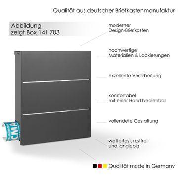 MOCAVI Box 141 Design-Briefkasten mit Zeitungsfach grau-eisenglimmer (DB 703) mit Edelstahl, Wandbriefkasten groß – Bild 2