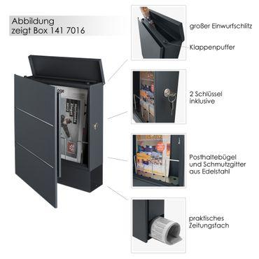 MOCAVI Box 141 Design-Briefkasten mit Zeitungsfach grau-eisenglimmer (DB 703) mit Edelstahl, Wandbriefkasten groß – Bild 3