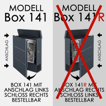 MOCAVI Box 141 Design-Briefkasten mit Zeitungsfach rubin-rot (RAL 3003) mit Edelstahl, großer Design-Briefkasten – Bild 12