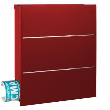 MOCAVI Box 141 Design-Briefkasten mit Zeitungsfach rubin-rot (RAL 3003) mit Edelstahl, großer Design-Briefkasten – Bild 2