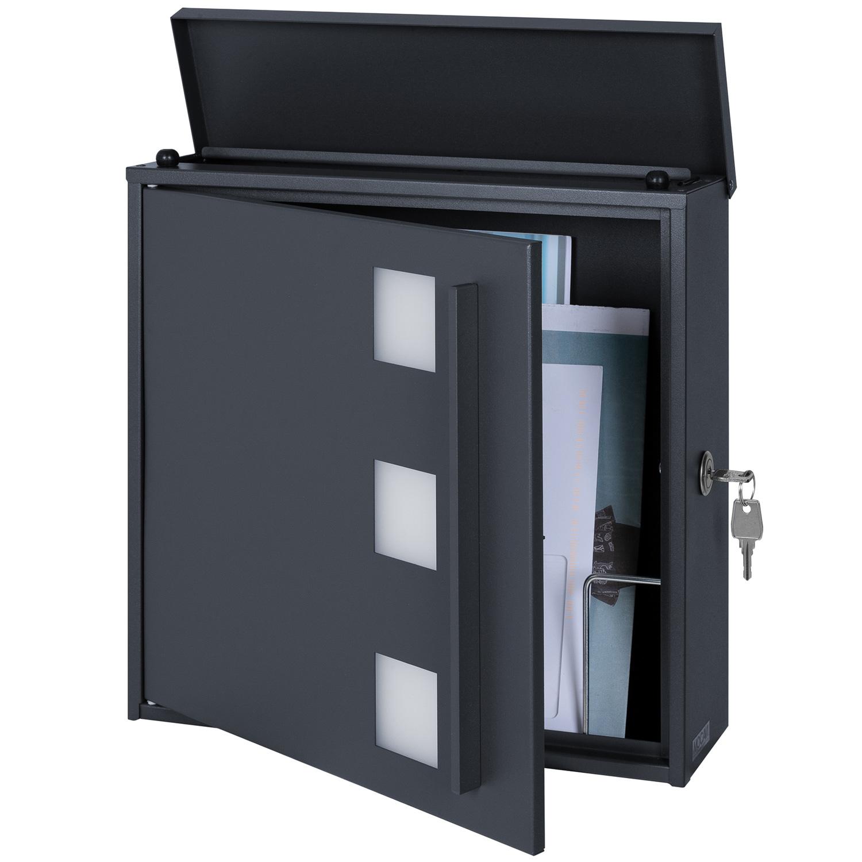 mocavi box 103w design briefkasten anthrazit grau ral 7016 sichtfenster eingang garten. Black Bedroom Furniture Sets. Home Design Ideas