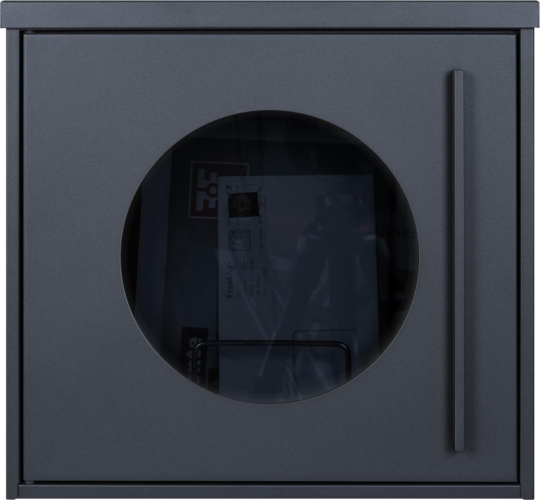 anthrazit RAL7016 Zeitungsfach Sichtfenster Designer Briefkasten 111 Edelstahl