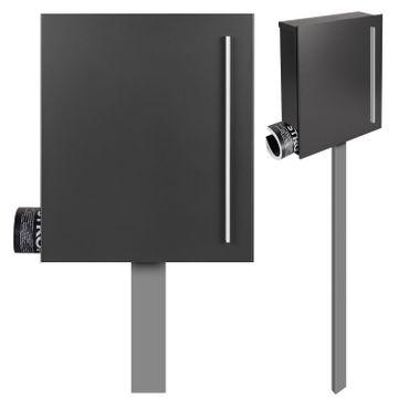 MOCAVI SBox 110b Standbriefkasten mit Zeitungsfach anthrazit-eisenglimmer (DB 703) Design-Briefkasten mit Fuß (einbetonieren) freistehend