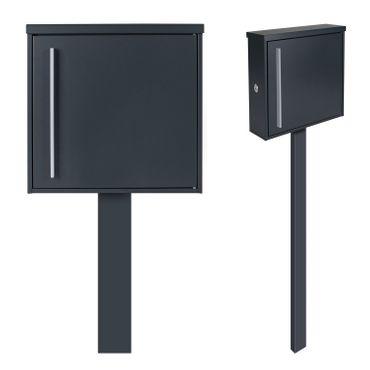 MOCAVI Sbox 101r b Standbriefkasten anthrazit-grau (RAL 7016) Design-Postkasten freistehend mit Pfosten (betonieren), Türanschlag rechts