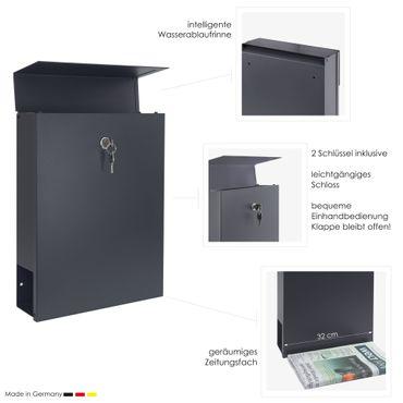 MOCAVI Box 500 Design-Briefkasten anthrazit mit Zeitungsfach (RAL 7016) – Bild 3