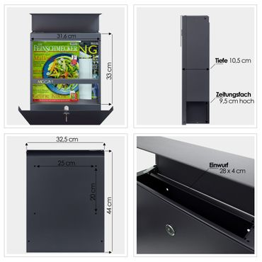 MOCAVI Box 510 Briefkasten edelstahl-anthrazit (RAL 7016) mit Zeitungsfach – Bild 4