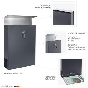 MOCAVI Box 510 Briefkasten edelstahl-anthrazit (RAL 7016) mit Zeitungsfach – Bild 3