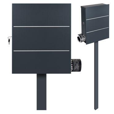 Standbriefkasten mit Zeitungsfach anthrazit-grau (RAL 7016) MOCAVI SBox 141R b Briefkasten mit Pfosten (einbetonieren) – Bild 1