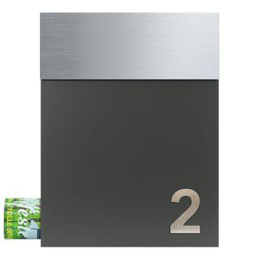 MOCAVI Box 510 plus eine Edelstahl Hausnummer V4A Design-Briefkasten Postkasten basalt-grau (RAL 7012)
