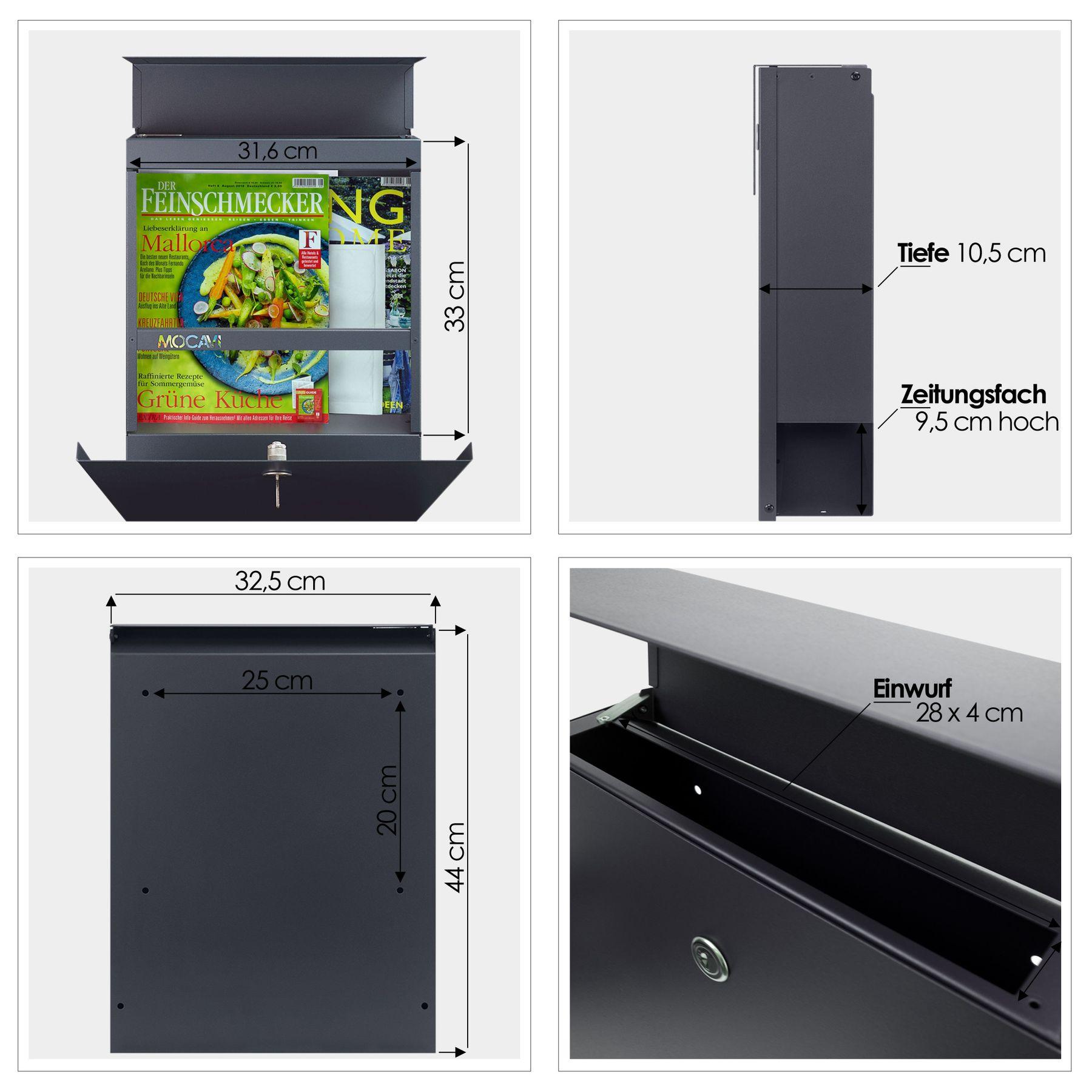 mocavi box 510 briefkasten mit gravur edelstahl anthrazit. Black Bedroom Furniture Sets. Home Design Ideas